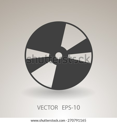 Flat  icon of DVD disc - stock vector