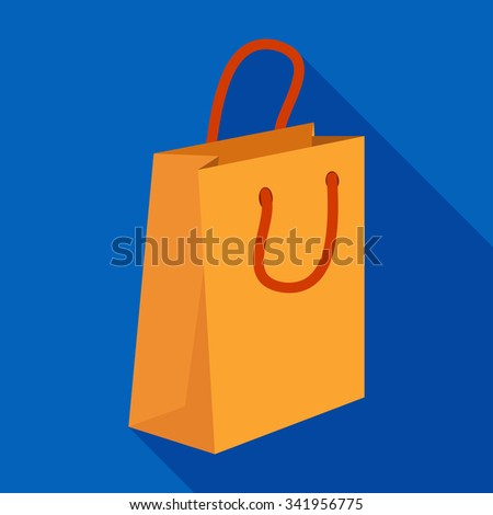 Flat icon of gift bag with long shadow
