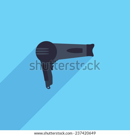 Flat Icon of hair dryer. Isolated on stylish color background. Elements with a long shadow.Icons in flat design.Flat design style modern vector illustration