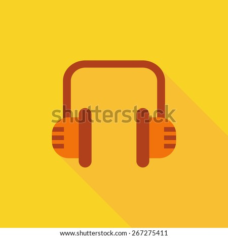 Flat Icon of headphones . Isolated on stylish yellow background. Element with a long shadow. Modern vector illustration for web and mobile. - stock vector