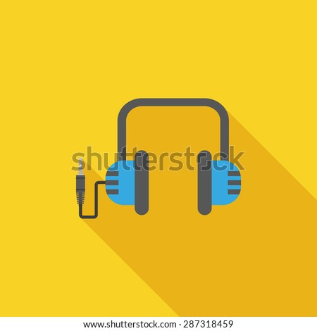 Flat Icon of headphones. Isolated on stylish yellow background. Element with a long shadow. Modern vector illustration for web and mobile. - stock vector