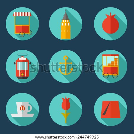 Flat icon of Istanbul. Vector set of Istanbul icon. Flat icons of Istanbul city. - stock vector