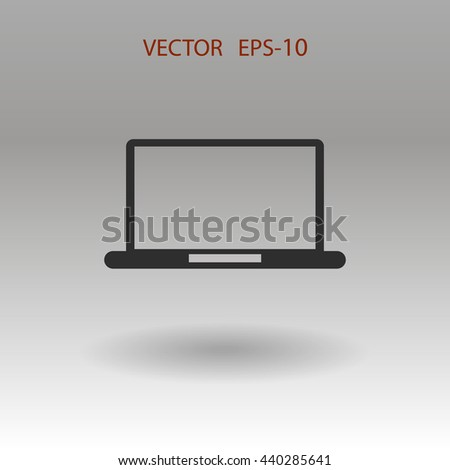 Flat icon of laptop - stock vector