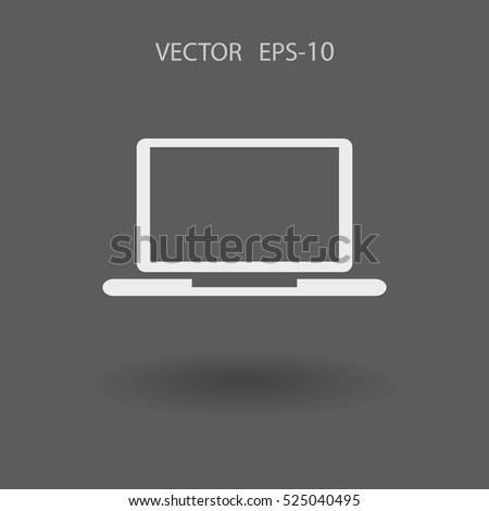 Flat icon of laptop. vector illustration