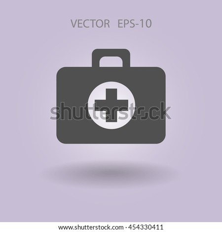 Flat icon of medical bag