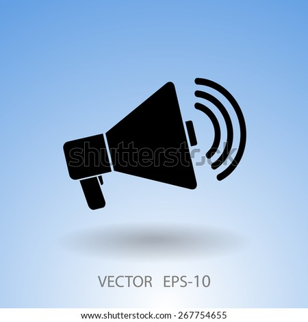 Flat icon of megaphone - stock vector