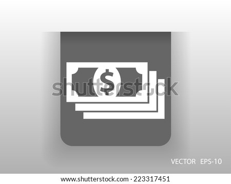 Flat icon of money - stock vector