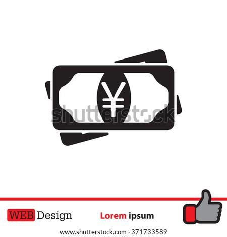 Flat icon of money (yuan, yen) vector icon - stock vector
