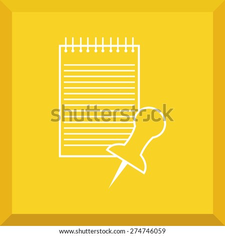 Flat Icon of notes with thumbtacks. Isolated on stylish yellow background. Modern vector illustration for web and mobile. - stock vector