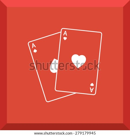 Flat Icon of playing cards. Isolated on stylish red background. Modern vector illustration for web and mobile.