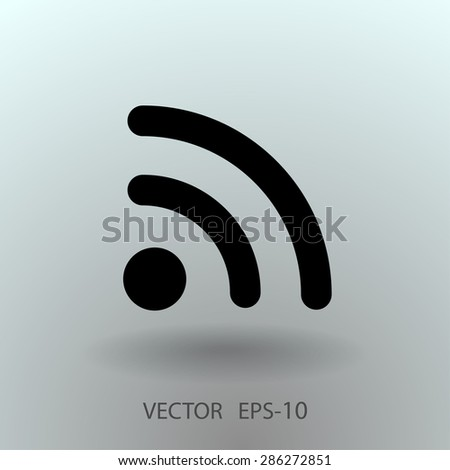 Flat icon of rss - stock vector
