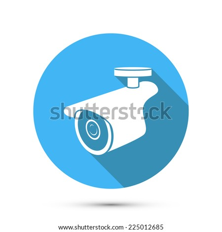 Flat Icon of Security Camera. Vector - stock vector