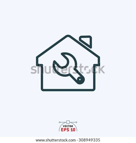 Flat icon of setting sign in home.