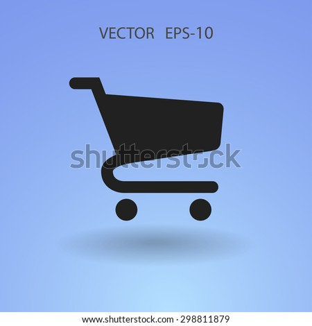 Flat icon of shopping cart - stock vector