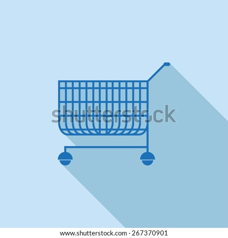 Flat Icon of Shopping supermarket cart . Isolated on stylish blue background. Element with a long shadow. Modern vector illustration for web and mobile.