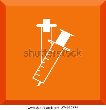 Flat Icon of syringe. Isolated on stylish orange background. Modern vector illustration for web and mobile. - stock vector