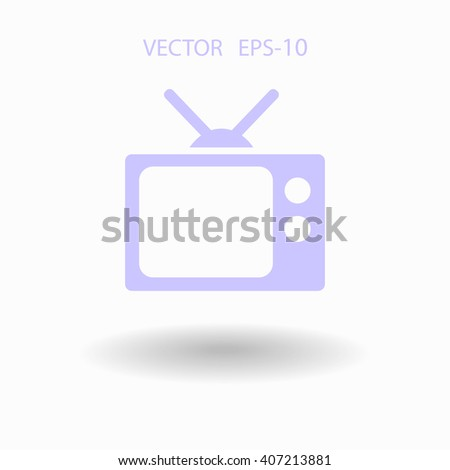 Flat icon of tv - stock vector