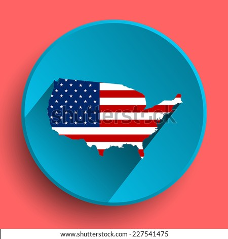 Flat icon of USA with flag - stock vector