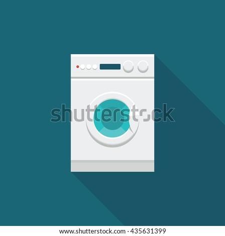 Flat icon of washing machine. Vector illustration - stock vector