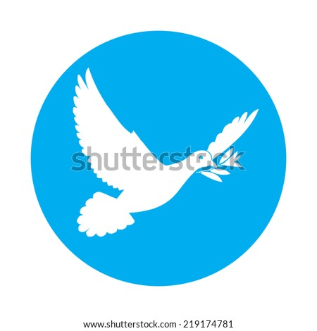 Flat icon of white dove of peace with olive branch in its beak - stock vector
