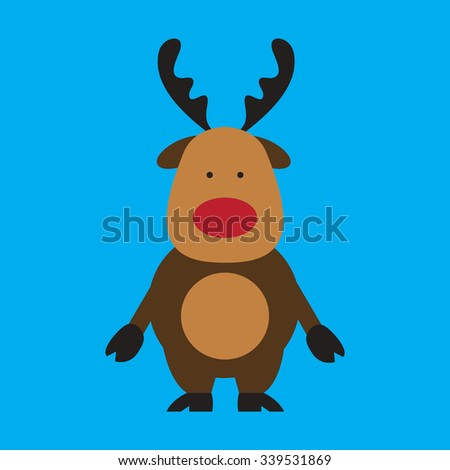 flat icon on blue background Santa's reindeer - stock vector