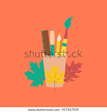 flat icon on stylish background pencils pens ruler - stock vector