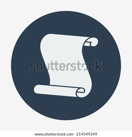 Flat icon, paper scroll. Flat design style modern vector illustration. Isolated on background. Elements in flat design. - stock vector