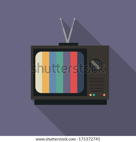 flat icon retro tv - stock vector