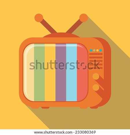 Flat icon retro tv - stock vector