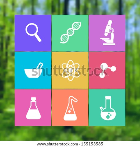 flat icon science icon set with symbols of science, chemistry, physics - stock vector