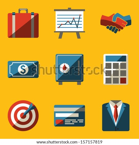 Flat icon set. Business - stock vector