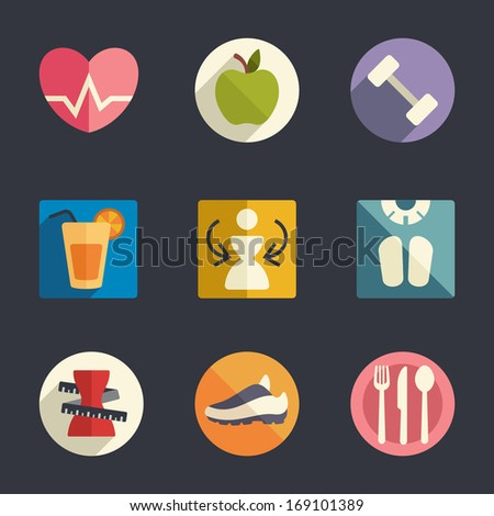 Flat icon set. Diet and fitness theme  - stock vector