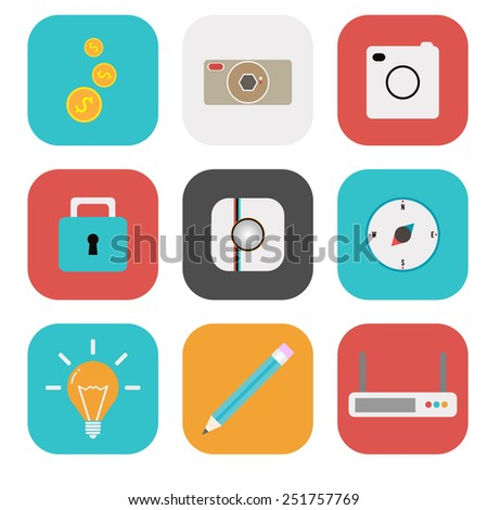 Flat icon set for Web and Mobile Application