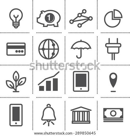 flat icon set: marketing - stock vector