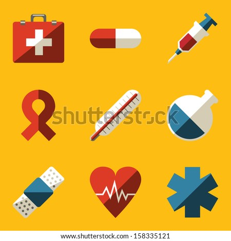 Flat icon set. Medical - stock vector