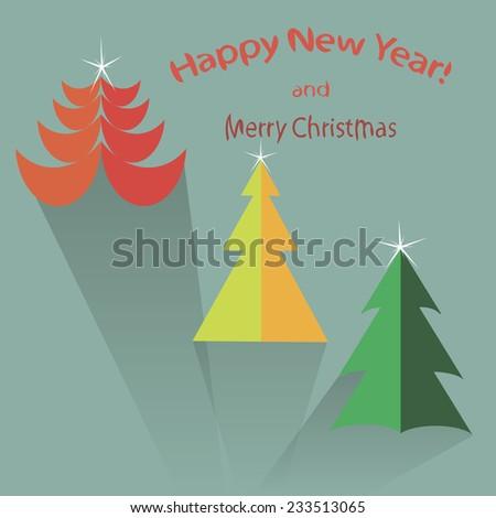 Flat icon set of Christmas trees. Winter trees in flat style. Illustration of Christmas trees. Christmas trees in flat style.  - stock vector