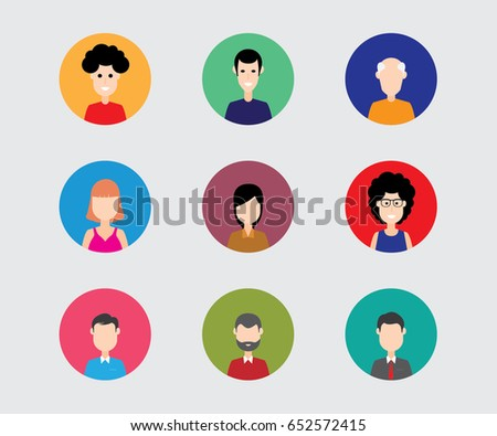 Flat Icon set of People, various vector faces