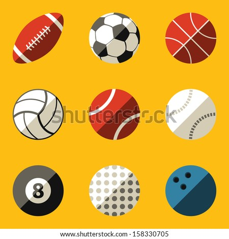 Flat icon set. Sport ball - stock vector