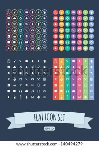 Flat Icon Set - Vector - stock vector