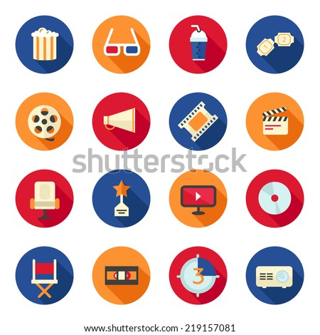 Flat icon set with cd, film and cinema - stock vector