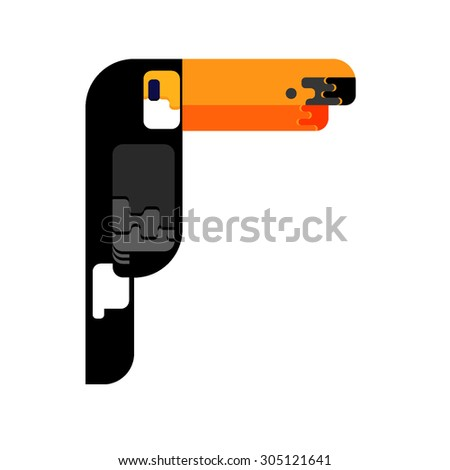 Flat icon (sign, poster, card) of toucan. Simple minimal style. Vector illustration