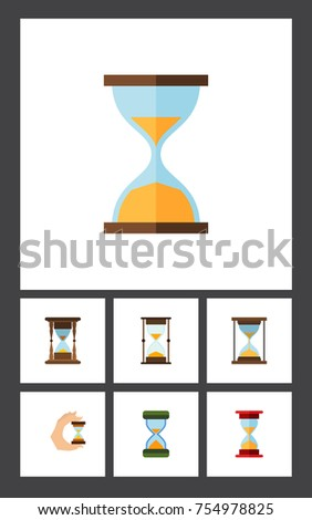 Flat Icon Timer Set Of Sandglass, Instrument, Hourglass Vector Objects. Also Includes Sand, Instrument, Sandglass Elements.