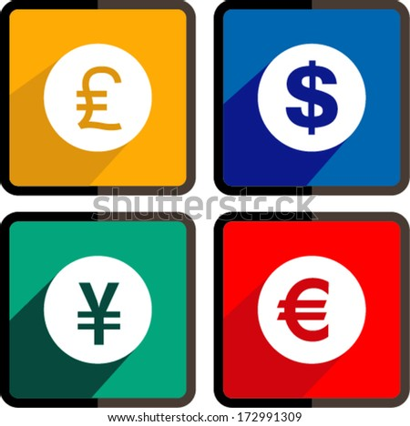 Flat icon Vector money ,dollar, euro, yen and pound