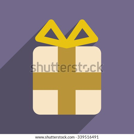 flat icon with long shadow Christmas gift  - stock vector