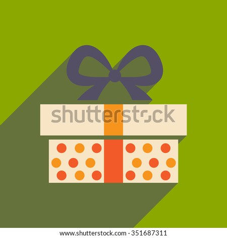 flat icon with long shadow gift box  - stock vector