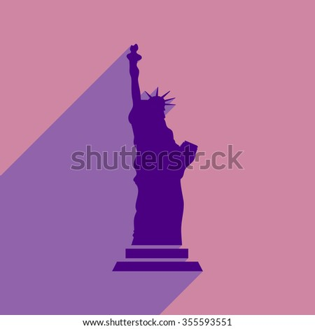 flat icon with long shadow Statue of Liberty - stock vector