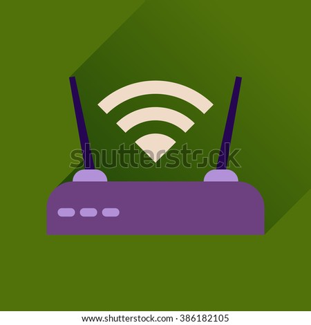 Flat icon with long shadow Wi fi modem - stock vector
