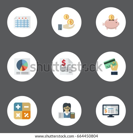 Flat Icons Accounting System Sheet Pie Bar And Other Vector Elements Set Of