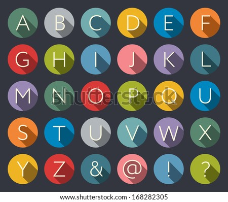 Flat icons alphabet - stock vector