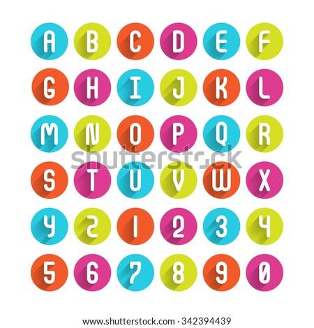 Flat icons alphabet A, B, C, D, E, F, G, H, I, J, K, L, M, N, O, P, Q, R, S, T, U, V, W, X, Y, Z and Number - stock vector